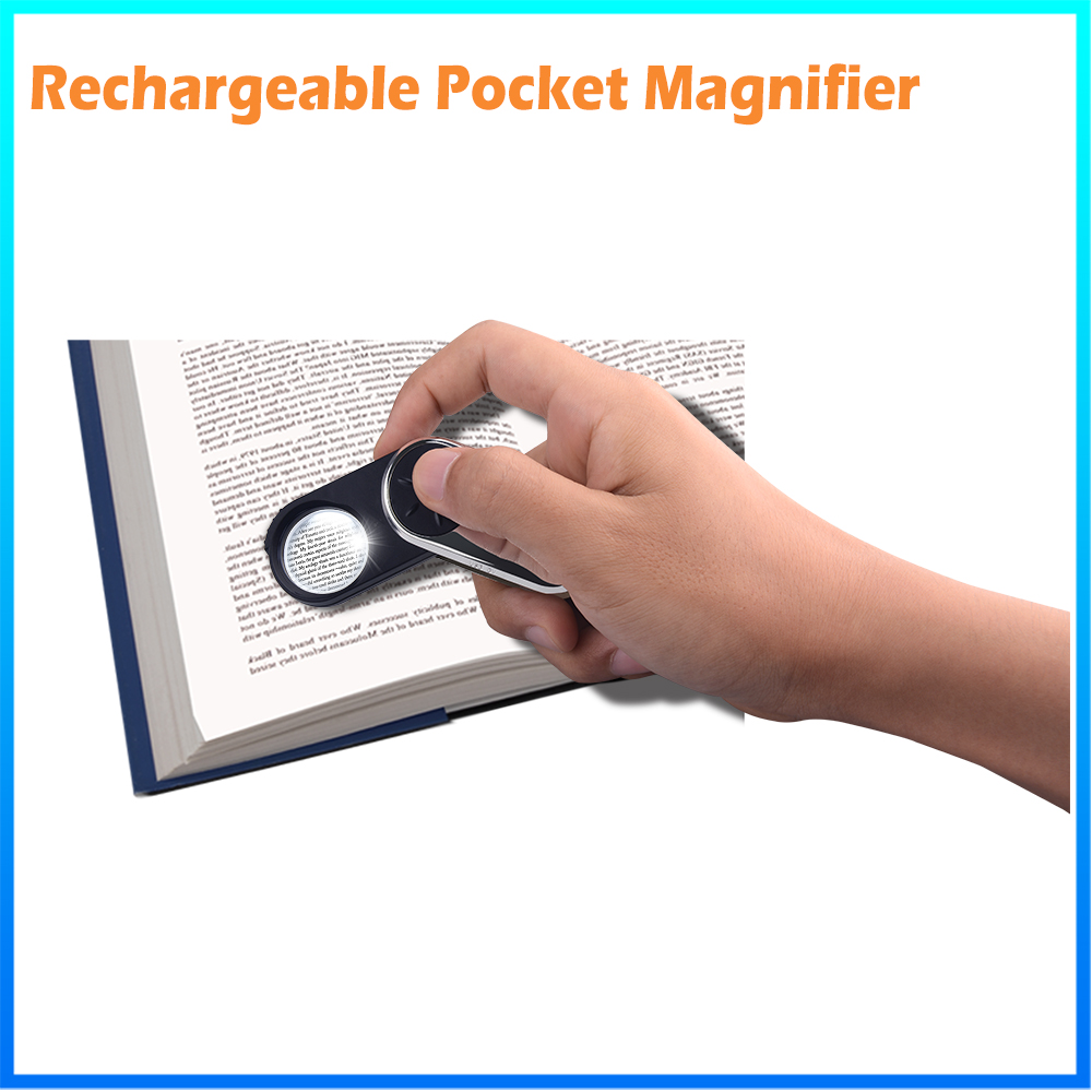 DH-83016 Promotional Gift Custom Pocket Led Magnifier,Plastic Keychain Folding Pocket Loupe With Light