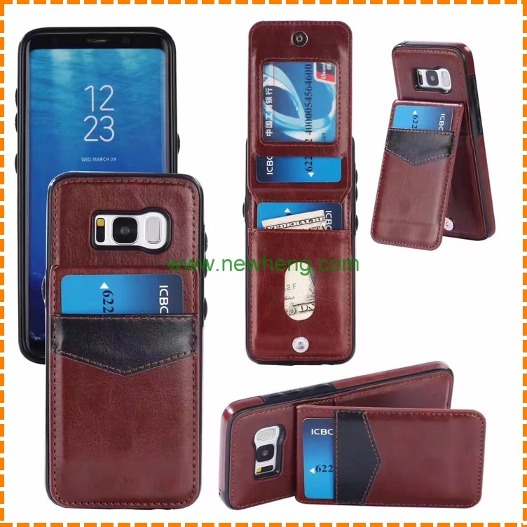 Back Cover Card Slot Mobile Phone Leather Case For Samsung Galaxy S8 S8 Plus