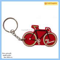 Promotion eco-friendly soft pvc 3d bicycle rubber lkeychain customized