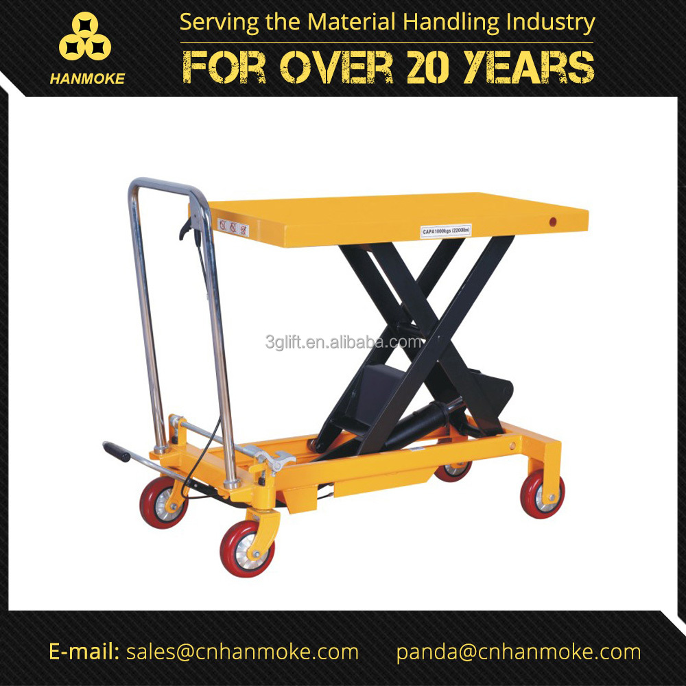 800kg Manual Hydraulic Portable Scissor Elevating Trolley