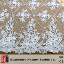 HC-0954 HeChun 3d white French embroidered lace fabric