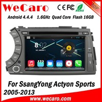 Wecaro Android 4.4.4 WIFI 3G car gps navigation multimedia system for ssangyong actyon car radio 2005 -2013