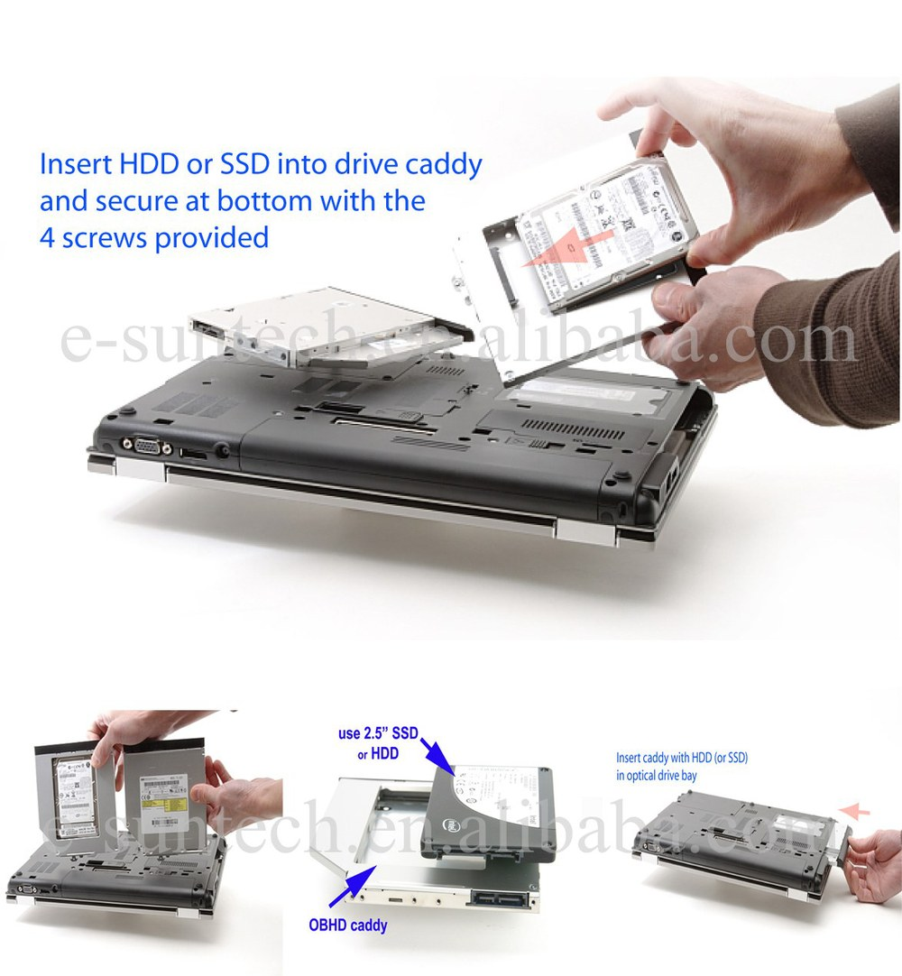 New Design SATA 2530p 2nd Hard Drive Caddy 2540p Second HDD Tray For HP 2530p 2540p