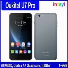 Original Oukitel U7 PRO MTK6580 5.5 Inch 1280x720 HD IPS Quad Core Android 5.1 Mobile Cell Phone 1GB RAM 8GB ROM 13MP Cam