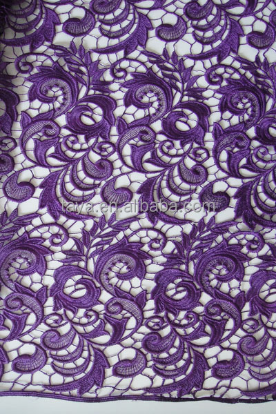 2014 Grade soluble embroidery fabric , guipure lace fabric ,purple lace fabric for fashion dress