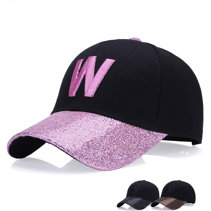 Factory Custom Retail Unisex Embroidery <strong>W</strong> Simple Letter Iron Hoop Sequins Baseball Cap Hat