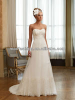 Off The Shoulder Korean Style Lace Empire Waist Maternity Wedding Dresses