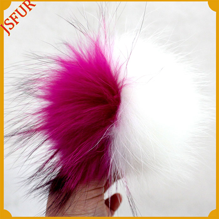 Multi Color more large fur bobble raccoon for cap fur pompom