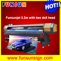 Funsunjet FS-3202G cheap price 3.2m wide format banner flex printer with two dx5 head and fast speed