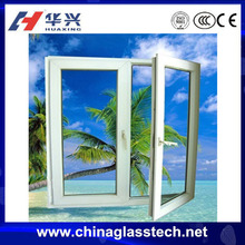 Latest style single/double glazed glass china conch brand white color casement upvc/plastic/pvc frame tinted glass window