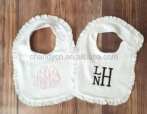 Monogram Cotton Ruffle Baby Bib And Burp Cloth Set