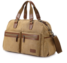 China suppliers high quality leather Travel Men Canvas tote bag