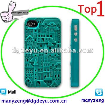 White 3D Sculpture Design Castle Town Silicone Case Cover for iPhone 4 4S 4G