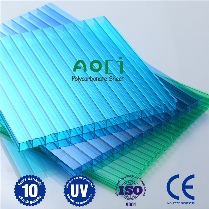 2016 Aoci Blue-green Twin Wall PC Hollow Sheet for The Indoor Partition