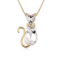 N1143 Free shipping Latest Sparkling Sea Blue Crystal Cat Necklaces New Design China Fashion Alloy Lovely Crystal Cat Necklace