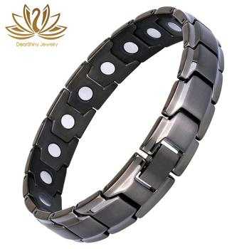 Elegant Titanium Magnetic Therapy Bracelet Pain Relief 3000 Gauss Magnets for Arthritis Gun Metal Color Best Seller on Amazon