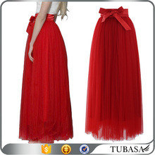 Women trendy fashion soft maxi tulle skirt mesh long layered skirts