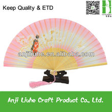 Japanese Style silk bamboo fan with Sakura and Kimono