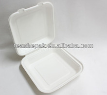 8 inch large clamshell box disposable biodegradable paper pulp sugarcane bagasse takeout food container lunch box
