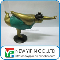 Handmade Brass Sculpture Yoga Fat Lady Pose With Stock Modle