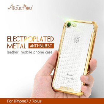 Atouchbo Hot Selling Manufacturer Golden Side Back Cover electroplating case phone For Iphone 7 TPU case