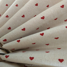 Factory Supply Look Red Heart Printed White Linen Cotton fabric Bed Linen Fabric