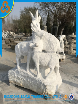 garden life size goat stone staue with goat scuplture for sale