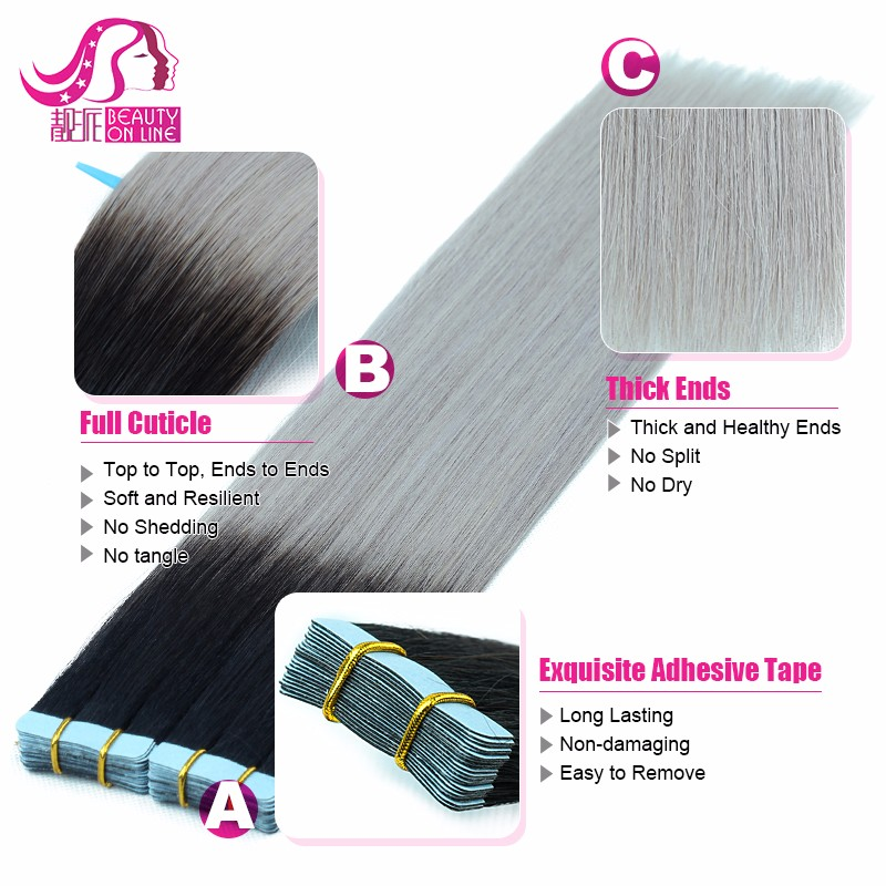 100 Remy Hair Brazilian Remy Tape Hair Extensions Highlight Silky