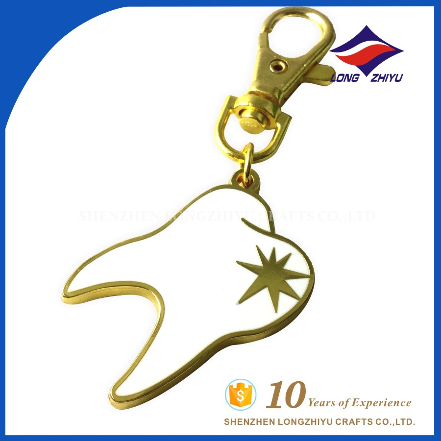 Free Design Promotional Dental Health Attention Keyring Key Chain for Sale