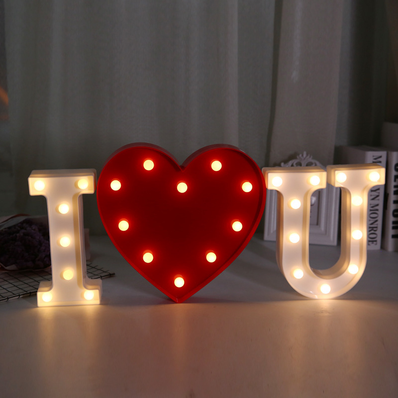 Coffee Shop Bar DIY Decoration Ornament Battery Powered Light Up Alphabet Love Letter LED <strong>Sign</strong>