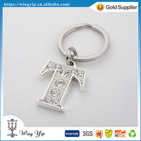 Custom made trendy Letter T Diamond Silver Plated Gift Key Ring