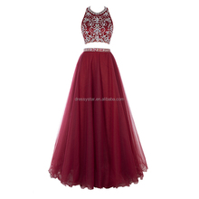 Designer Long Puffy Burgundy Beaded Top two piece set tulle shiny prom dress