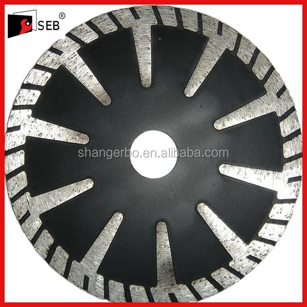 hot pressed protective teeth diamond saw blade for granite with flanges