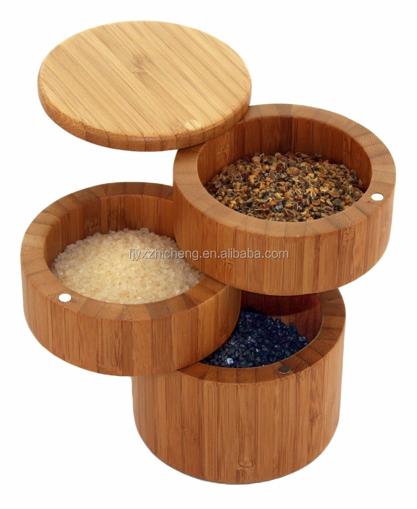 Wholesale Bamboo Salt Box 3-Tiered Seasoning Spice Storage Box With Removable Rotating Magnetic Lid