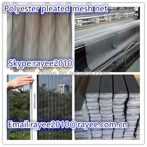 pleated insect screen net, pleated mosquito screen net,grey color mesh curtain net
