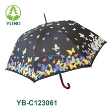 Straight auto open change color magic umbrella, umbrella with magic print low MOQ