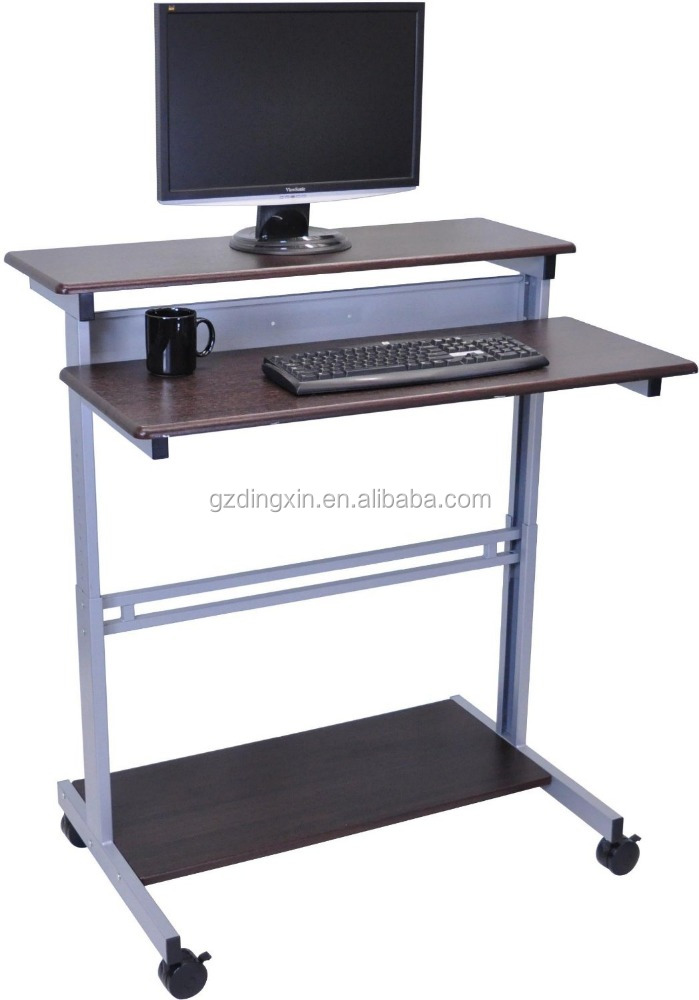 shelves mobile ergonomic stand up desk computer workstation