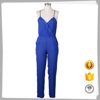 Made in China soft sexy ladies casua long blue ladies jumpsuit