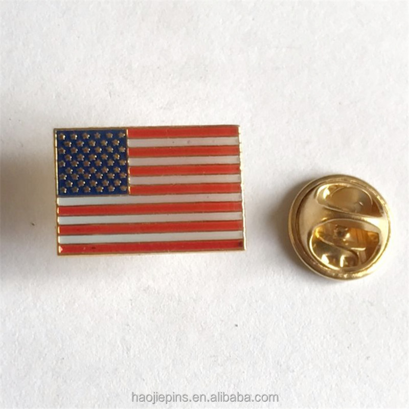 Quality Epoxy Gold Metal American Flag Lapel Pin