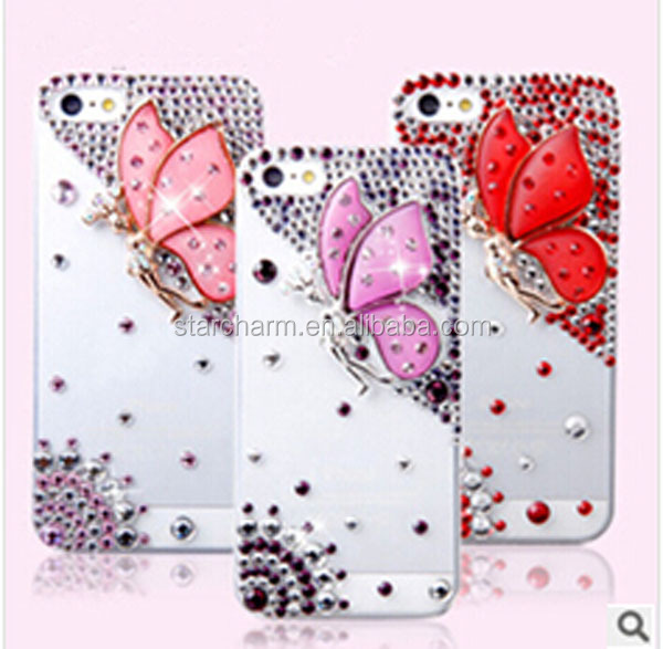 Butterfly Rhinestone for iphone5 Mobile Phone Case