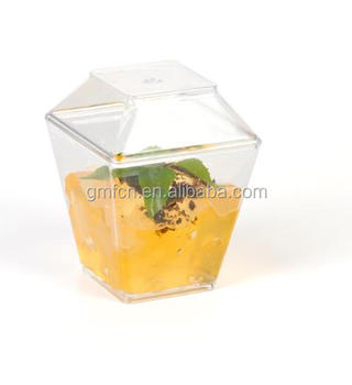 factory manufacture square clear decorative party ps dessert cup 2oz