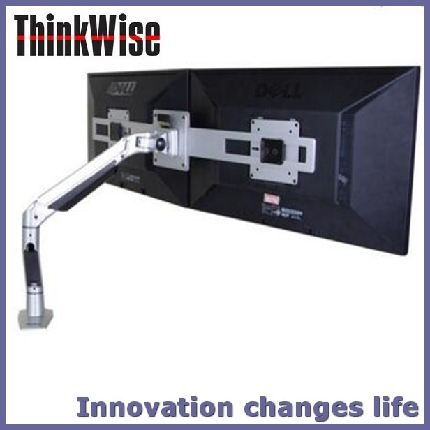 Think Wise S202 Desk top to button fixed easy adjustable twin bracket monitor arm