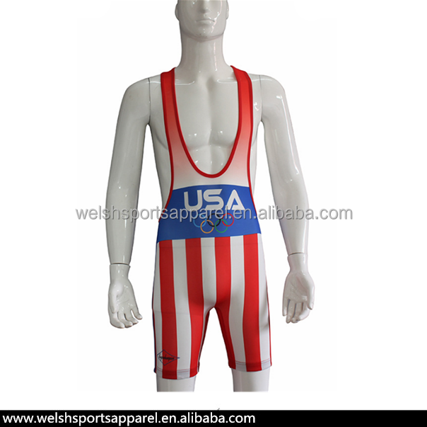 Sublimated USA cheap wrestling singlets for sale