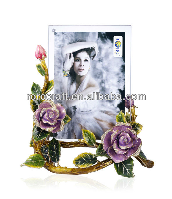 RORO Beautiful Life rose crystal glass enamel photo frame picture frame
