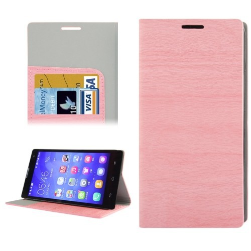 Wood Texture Leather Case with Credit Card Slots & Holder for Huawei Honor 3C