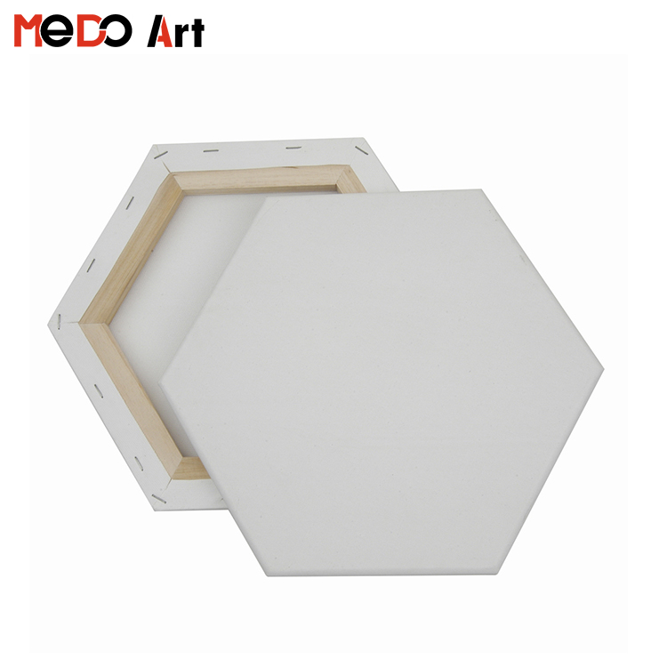 gallery wrapped blank hexagon stretched canvas