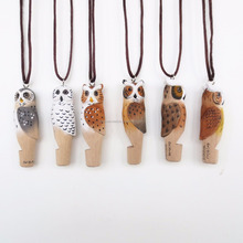 hot sale top selling wooden animal owl whistle
