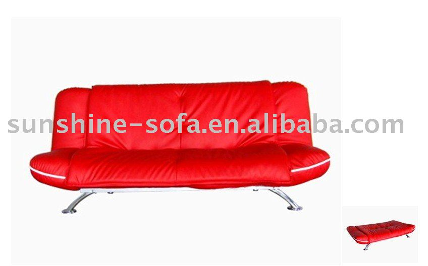 Big Size Red PU Sofa Futon Bed