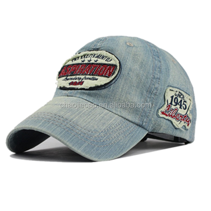 wholesale denim baseball cap with embroidered