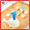 Factory supply creative plastic white whale shaped fruit fork with stand